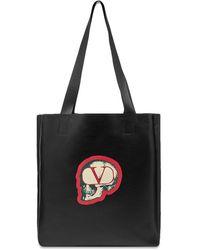 Valentino X Undercover Skull Leather Shopper Tote - Black