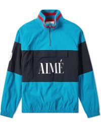 Aimé Leon Dore Logo Quarter Zip Popover Jacket - Blue