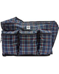 Opening Ceremony Plaid Sling Backpack - Blue