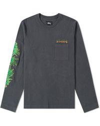 Stussy Long Sleeve Leaves Tee - Gray