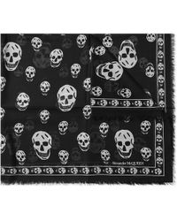 Alexander McQueen Skull Motif Scarf - Black