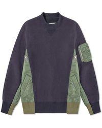 Sacai Sponge Sweat X Ma-1 Pullover - Blue