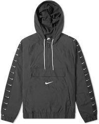 Nike Taped Swoosh Popover Jacket - Black
