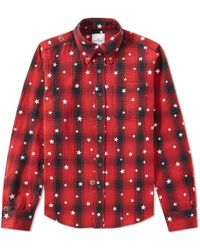 Uniform Experiment - Star Print Ombre Check Shirt - Lyst