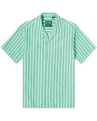 Gitman Brothers Vintage Camp Collar Awning Stripe Shirt - Green