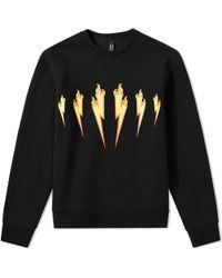 Neil Barrett Flame Lightning Bolt Sweat - Black