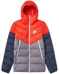 Nike - Sportswear Down Filled Hooded Windrunner Red/ Gun Smoke/ Sail - Lyst