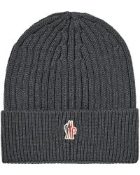 2b7319b6f90 Lyst - Moncler Grenoble Ribbed Wool Hat Charcoal in Gray for Men