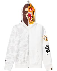 A Bathing Ape 2nd City Camo Full Zip Ape Tiger Hoody - White