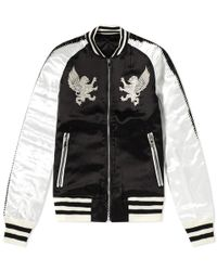 Balmain - Embroidered Satin Varsity Jacket - Lyst