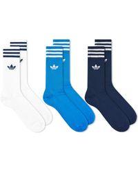 adidas Solid Crew Socks - 3 Pack - Blue