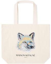 Maison Kitsuné Maison Kitsuné Pastel Fox Head Tote Bag - Multicolor
