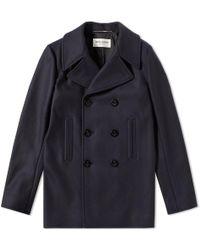 Saint Laurent - Wool Pea Coat - Lyst