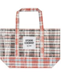 Opening Ceremony Plaid Tote Medium - Red