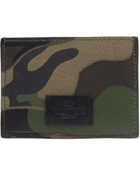 Valentino Bonded Camouflage Card Holder - Green