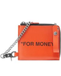 Off-White c/o Virgil Abloh Zip-around Leather Chain Wallet In Orange