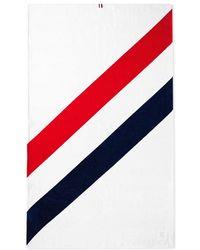Thom Browne Diagonal Stripe Beach Towel - White