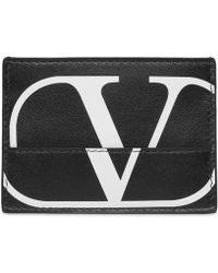 Valentino Broken-logo Leather Card Case - Black