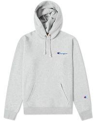 Champion Small Script Logo Hoody - Gray