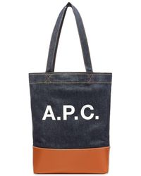 A.P.C. Axel Denim Tote Bag - Blue