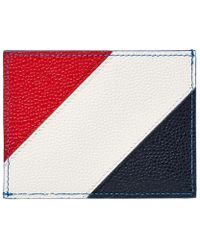Thom Browne Diagonal Stripe Card Holder - Blue