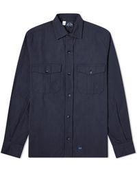 Bleu De Paname 2 Pocket Ripstop Shirt - Blue