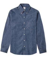 Orslow Button Down One Wash Denim Shirt - Blue