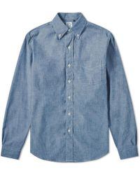 Orslow Button Down Chambray Shirt - Blue