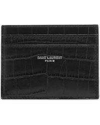 Saint Laurent Moc Croc Card Holder - Black