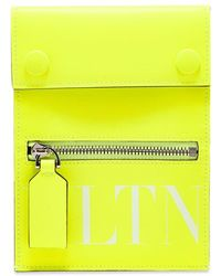 Valentino Fluo Vltn Leather Neck Pouch - Yellow