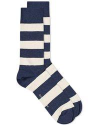 Oliver Spencer Lee Bold Striped Sock - Blue