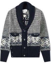 Thom Browne Fair Isle Jacquard Cardigan - Blue