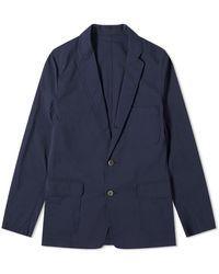 Beams Plus 3 Button Seersucker Blazer - Blue