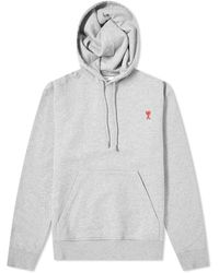 AMI Heart Logo Patch Popover Hoody - Gray