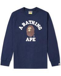 A Bathing Ape Long Sleeve University Tee - Blue