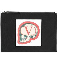 Valentino X Undercover Skull Nylon Zip Pouch - Black
