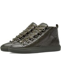 00a5a7b7af806 Lyst - Balenciaga Arena High-Top Leather Sneakers in Natural for Men