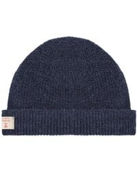 67aa4c5a0aa Nigel Cabourn Mens Ribbed Wool Beanie in Blue for Men - Lyst