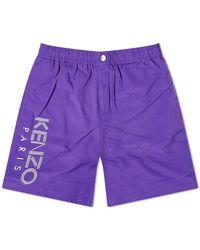 KENZO Long Paris Logo Swim Trunk - Purple
