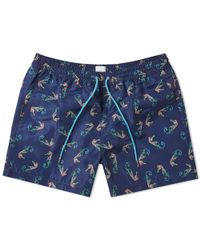 Paul Smith Seahorse Print Swim Short - Blue