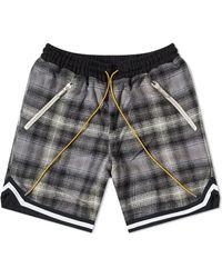 Rhude Webbing-trimmed Checked Cotton Drawstring Shorts - Gray