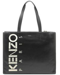 KENZO Leather Logo Shopper - Black