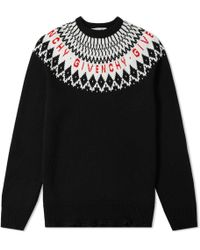 Givenchy - Fair Isle Logo Sweater - Lyst