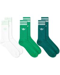 adidas Solid Crew Socks - 3 Pack - Green