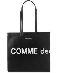 Comme des Garçons Logo-print Leather Tote Bag - Black
