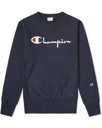 Champion - Script Logo Crew Sweat - Lyst