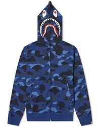 A Bathing Ape Colour Camo 2nd Shark Full Zip Hoody - Blue