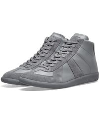 Maison Margiela Replica High Top Suede Trainers - Gray