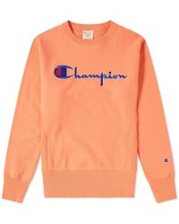 452d5cd7e32b Champion Script Logo Crew Sweat for Men - Lyst