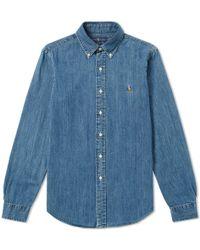 Polo Ralph Lauren - Slim Fit Button Down Denim Shirt - Lyst